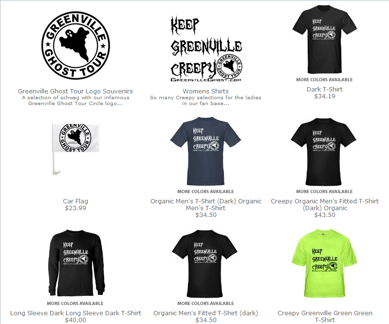 Buy Greenville Ghost Tour tshirts and souvenirs